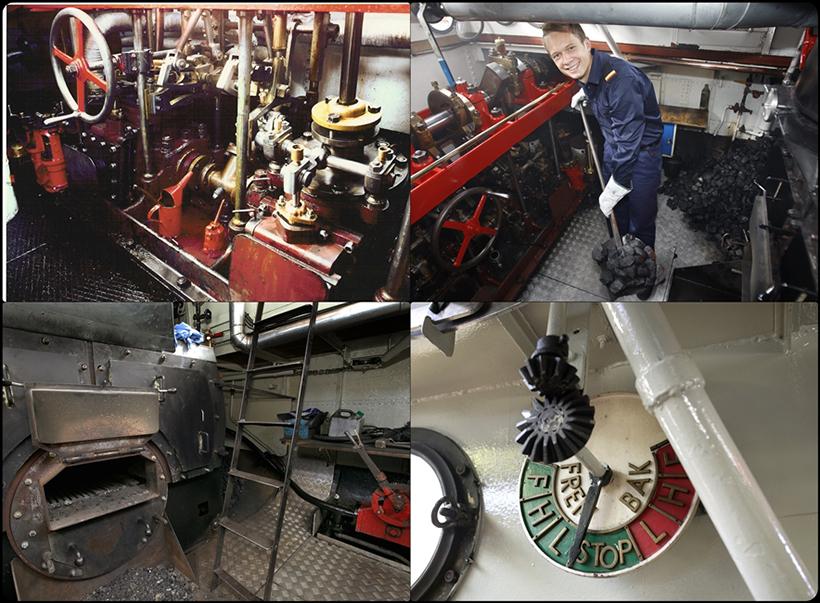 Hjejlens maskinrum og fyrbøder på arbejde